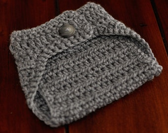Heather Grey Crochet Diaper Cover Photo Prop--0-3 months