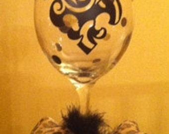Fleur De Lis Wine Glass Personalized