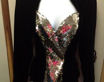 Black Velvet Sequin 1980s Vintage Jacket