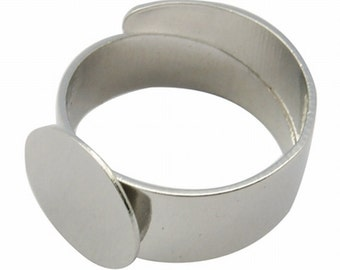 Silver Wrap Around Extended Sizes Adjustable Ring Blank Base 12mm