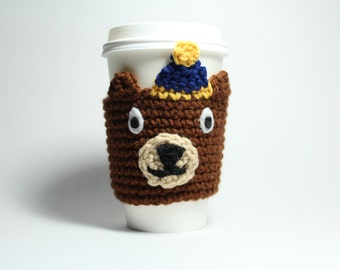 Bear Coffee Cozy,  Cal Bears Coffee Sleeve, Crochet Animal Can Holder, Drink Cup Holder, UC Berkeley Oski, Java Jacket