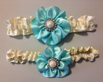 Aqua Blue Wedding Garter - Bridal Garter and Toss Garter - Rhinestone Detail...