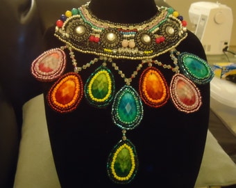 OOAK,Colorful,Exotic beadwork necklace.....Made in America..