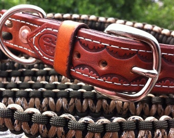 Paracord Dog Leash & Collar Set in your choice of 2 cord colors -  Hand-tooled Leather - 550 Paracord Dog Collar