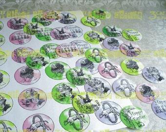 "Edwardian Easter Spot Illustrations 1.5"" Circles Instant Digital Download"