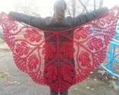 Red triangle scarf shawl - mohair and acrylic unique handmade crochet