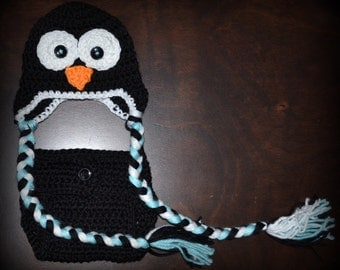 Crochet Penguin Earflap Baby Beanie Hat & Diaper Cover Photo Prop Custom Made Boy Girl