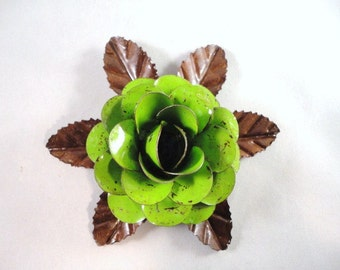 Large Size Decorative Metal Hand Cut and Hand Painted Rustic Lime Green Color Rose Mounted on a Bed of Metal Leaves.
