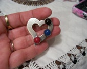 Vintage Mexican Sterling Silver Heart Brooch MEXICO Nice VALENTINE'S DAY Brooch