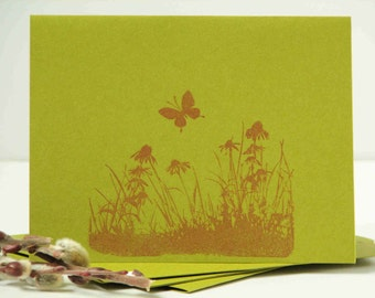 wildflowers cards, hand stamped cards, meadow, set of 4