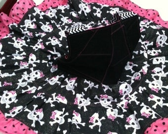"""PUNK, SKULLS, GLITTERY and """"Franken-Stitched"""" Girly boutique style Halter top and ruffle pants, size 5"""