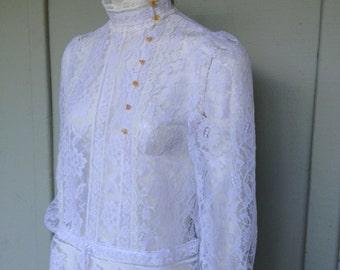 Edwardian Style Lace Blouse, 1970's