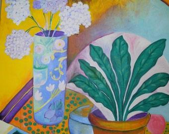 Sharyn Seibert Original Cubist Still Life  In Oil Paint 3 Feet x 4 Feet