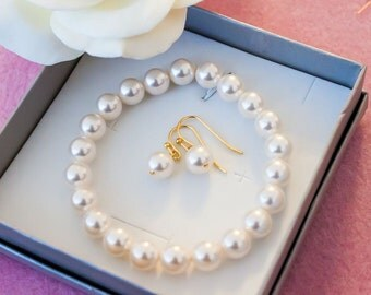 50% OFF SALE Pearl jewelry set,  Bridesmaid gift - Pearl Jewelry sets with stretch Bracelet and Earrings, ovpry gold bracelet, rose gold, si