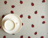 Linen tablecloth natural grey fun red ladybugs , also table runner napkins , pillow , curtains available,eco GIFT