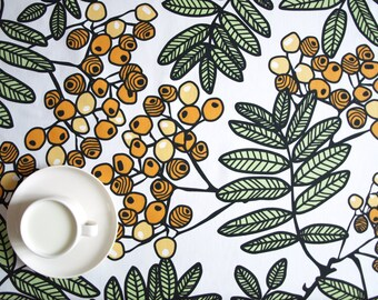 Tablecloth white orange yellow berries Modern Scandinavian Design , also napkins, table runner , pillows available, great GIFT