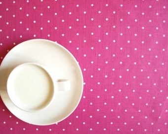 Linen tablecloth hot pink white polka dots Eco Friendly , table runner napkins pillow available,eco GIFT