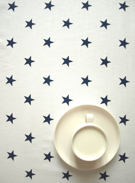 Blue Curtains blue curtains with white stars : Tablecloth white navy blue stars also napkins table runner