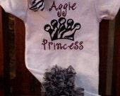 Aggie Princess - Zebra Ruffle Bottom Bodysuit or Shirt
