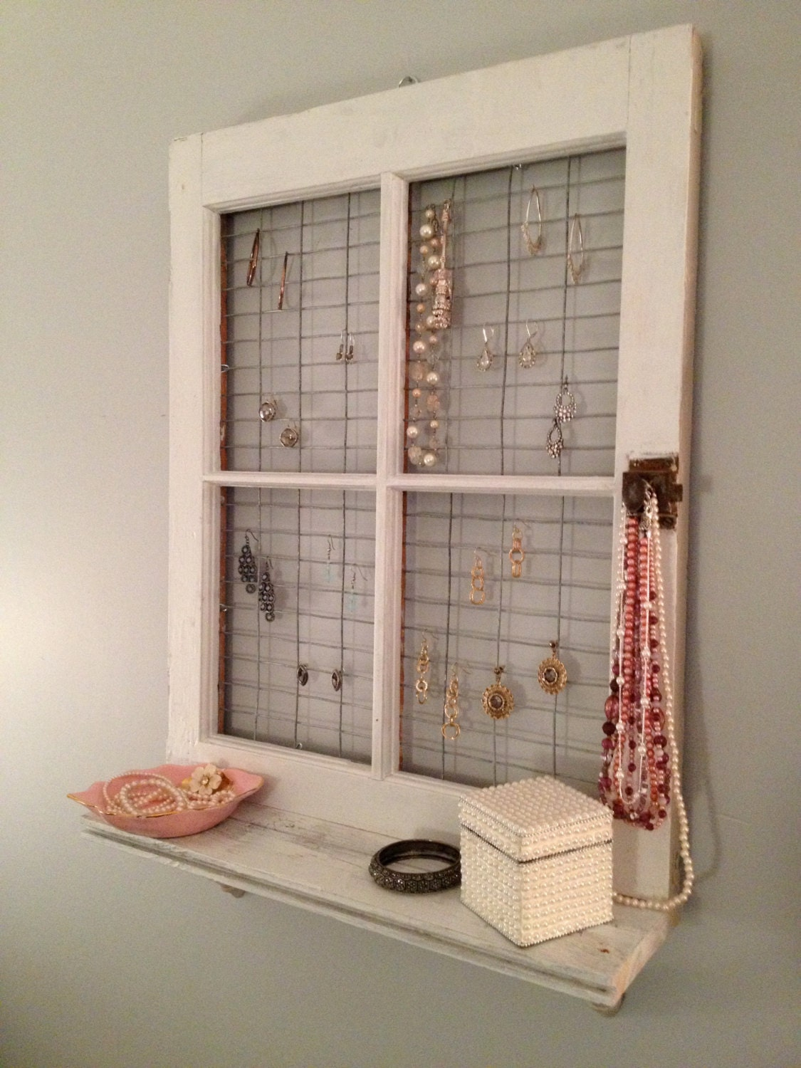 Vintage window frame and shelf wall decor for Window design on wall