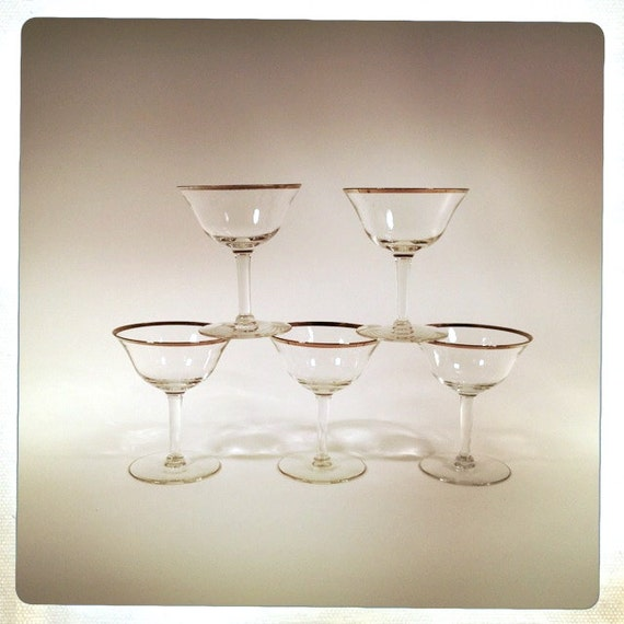 vintage silver rimmed crystal stemware champagne coupes martini cocktail glass