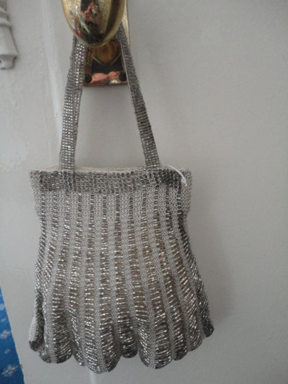 Vintage Knitted Evening Bag/Purse with Silver Beads