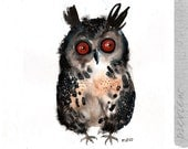 An Owl, original painting by ozozo
