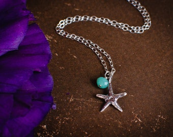 Tiny Sterling Silver Starfish Beach Ocean Necklace  CHOOSE GEMSTONE BIRTHSTONE - Chrysophrase Dainty Personalized Pendant