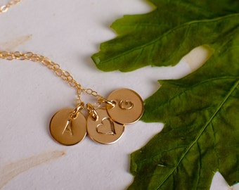 Two Initial Necklace with Heart - Kids Necklace - Couples Necklace - Anniversary Necklace - Lovers Necklace