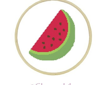 Cross Stitch Pattern - Watermelon - Beginners Printable PDF Download