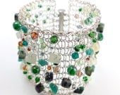 Knitted wire bracelet - Green Semi Precious Beads and Swarovski Crystals