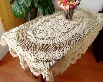 OVAL Handmade  Crochet  Tablecloth