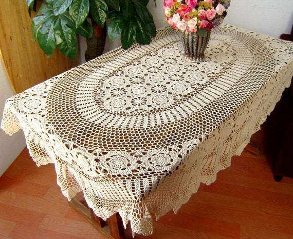 Crochet Tablecloth : OVAL Handmade Crochet Tablecloth by TableclothShop on Etsy