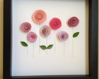 Pink Rose Garden, 3D Paper Art, Customize with your colors and personalize