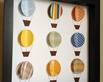 Colorful Paper Hot Air Balloon, 3d paper art