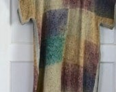 Unusual vintage weaved coverall poncho dress in earthy tones