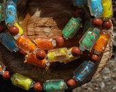 Lampwork and Sandstone bead necklace