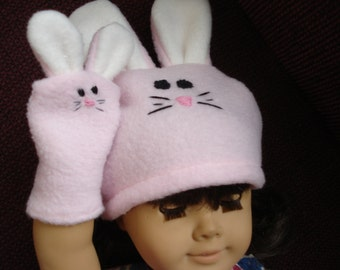 "18"" girl  Doll Clothes  hand made - pink Bunny Hat and Hand puppet fleece fabric"