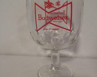 1960s NOS Budweiser 12 Ounce Bar Goblet Bowtie Logo