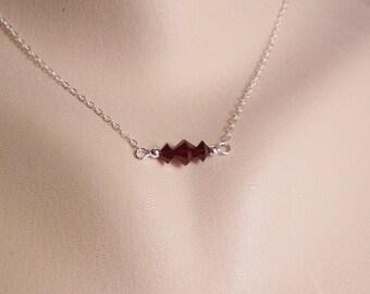 Garnet Crystal Necklace, Swarovski Garnet, Siam Crystal, Garnet Necklace, Garnet Bar Necklace