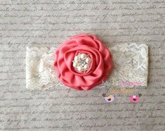 Coral headband- lace headband- newborn headband- infant headband- toddler headband- rose headband