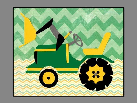 John Deere Tractor Cartoon Prints : Yellow green tractor wall art john deere nursery decor