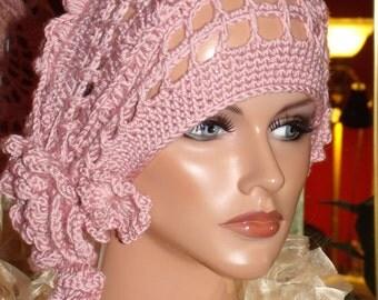 Crochet Flapper Hat Beret  Church  1920 style Personalized   Shood Headdress