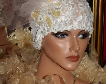 Lace Flapper Hat Cloche 1920 sTheme Personalized  Headdress