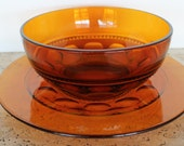 Vintage Indiana Glass Amber Bowl and Plate