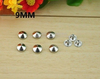 100pcs 9mm Silver CONICAL Rapid Rivet Studs For Punk Bag Shoes and Cloth DIY Accessories,Cellpone accessories