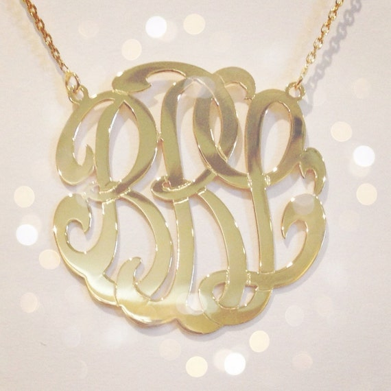 medium 14k gold monogram necklace