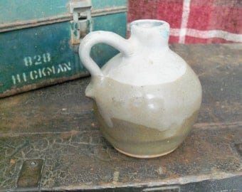 Vintage Handmade Primitive Pottery Crock Jug