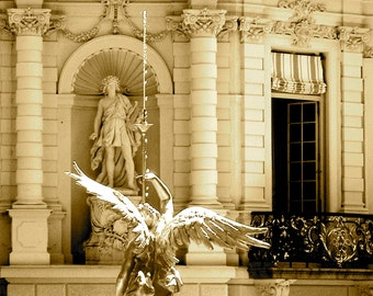 Travel Photography- European Palace in Sepia- German, Bavarian, European, Architectural, Statuary, Historic, Palace, Fine Art Photography