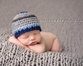 Newborn {Sebastian} Striped Beanie, Newborn Photography Prop, Boy's Photography Prop